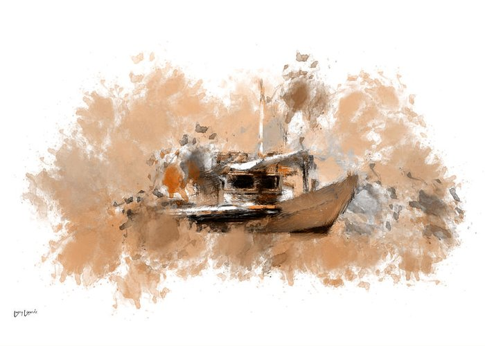 Boats In Water Digital Art Greeting Cards