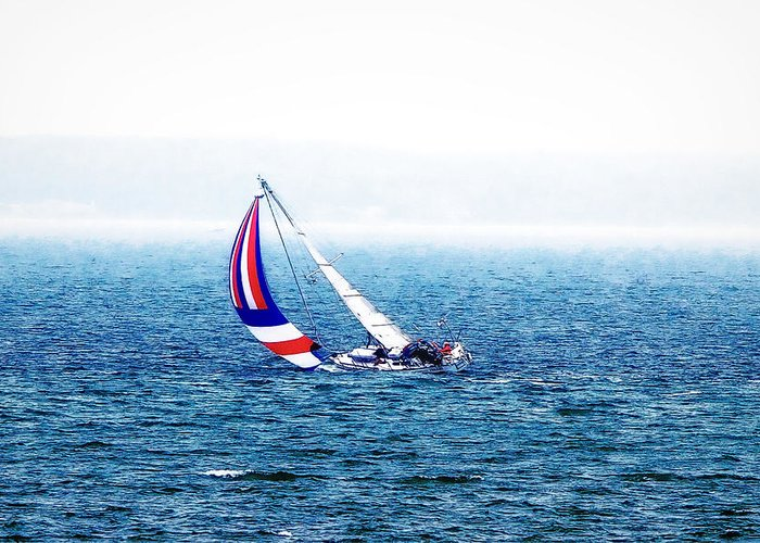 Ocean Greeting Card featuring the photograph Sailing Vinyard Sound Photo Art by Constantine Gregory
