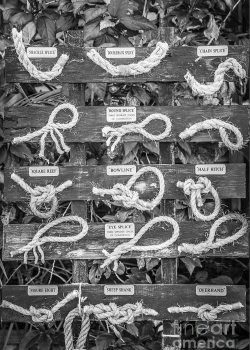 America Greeting Card featuring the photograph Sailor's Knots Key West - Black And White by Ian Monk