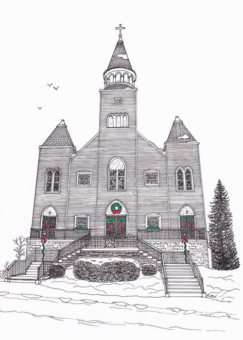 Architectural Drawing Greeting Card featuring the drawing Saint Bridget's Church At Christmas by Michelle Welles