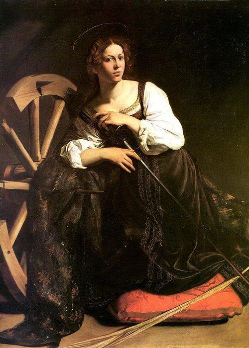 Caravaggio Greeting Card featuring the digital art Saint Catherine Of Alexandria by Caravaggio