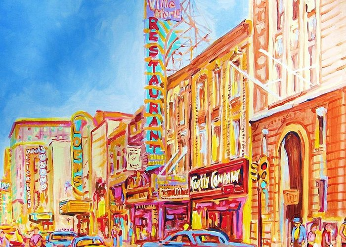 Paintings Of Montreal Greeting Card featuring the painting Saint Catherine Street Montreal by Carole Spandau