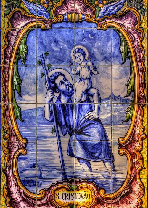 California Greeting Card featuring the photograph Saint Christopher Carrying The Christ Child Across The River - Near Entrance To The Carmel Mission by Michael Mazaika