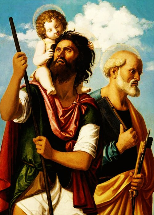 Saint Christopher With Saint Peter Greeting Card featuring the painting Saint Christopher With Saint Peter by Bill Cannon