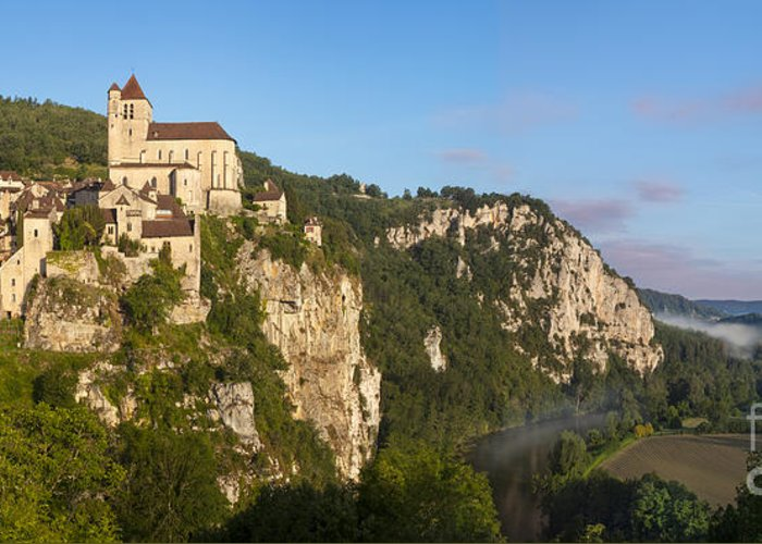Buildings Greeting Card featuring the photograph Saint Cirq Panoramic by Brian Jannsen