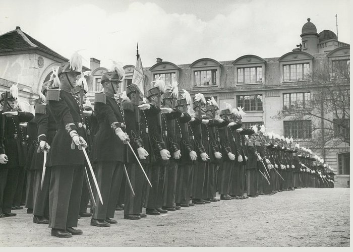 retro Images Archive Greeting Card featuring the photograph Saint Cyr Cadets At Ecole Polmtechnique by Retro Images Archive