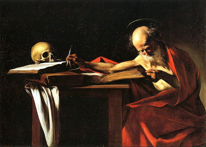 Caravaggio Greeting Card featuring the digital art Saint Jerome Writing by Caravaggio