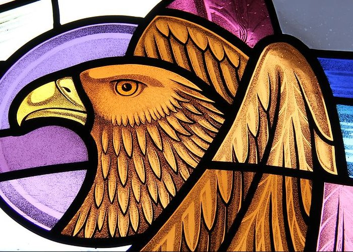 Stained Glass Greeting Card featuring the glass art Saint John Eagle by Gilroy Stained Glass