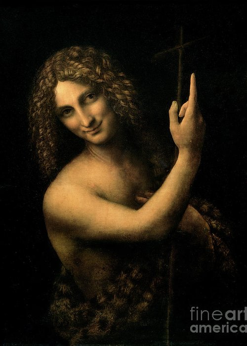 St Greeting Card featuring the painting Saint John The Baptist by Leonardo da Vinci