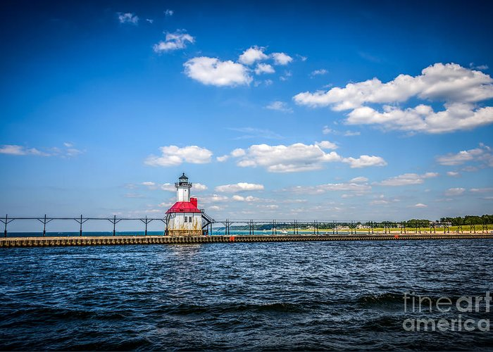 Berrien Greeting Card featuring the photograph Saint Joseph Lighthouse And Pier Picture by Paul Velgos