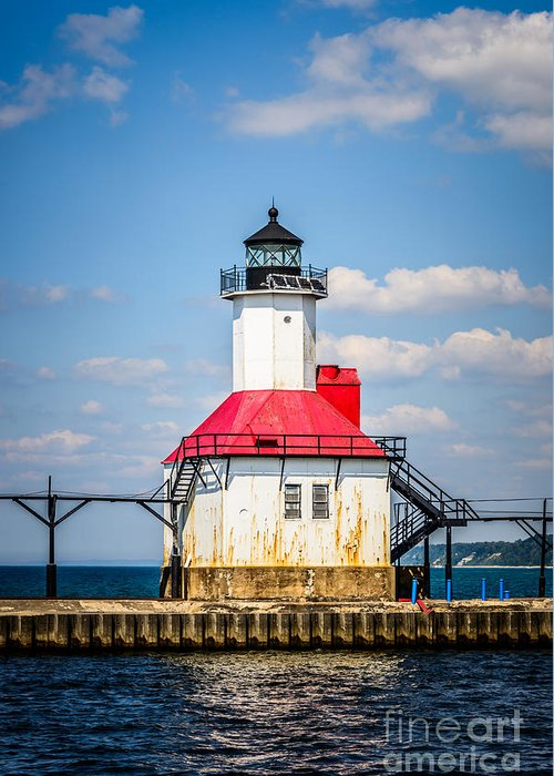 Amercian Greeting Card featuring the photograph Saint Joseph Lighthouse Picture by Paul Velgos