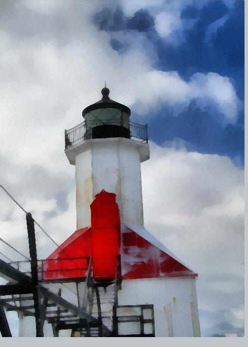 Saint Joseph Michigan Lighthouse Greeting Card featuring the painting Saint Joseph Michigan Lighthouse by Dan Sproul