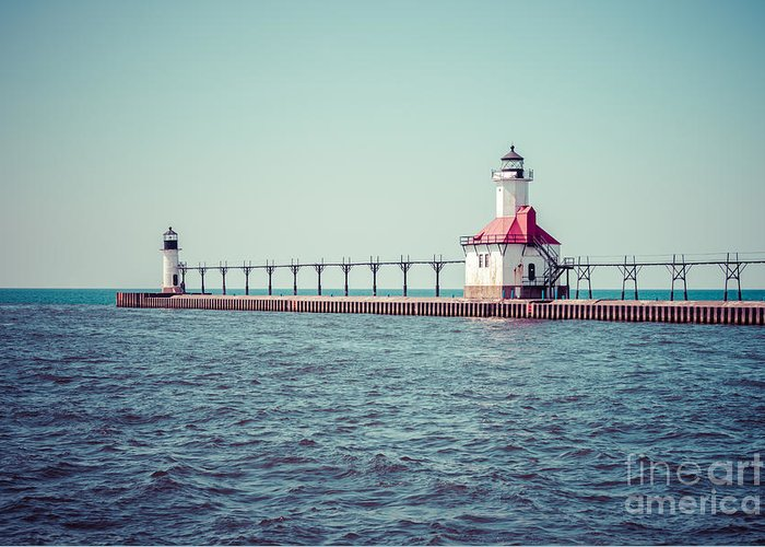 America Greeting Card featuring the photograph Saint Joseph Michigan Lighthouse Retro Picture by Paul Velgos