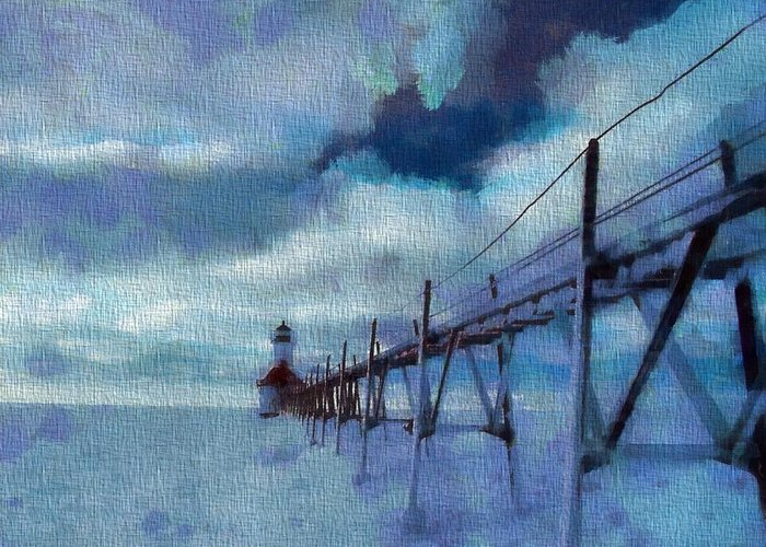 Saint Joseph Pier Lighthouse In Winter Greeting Card featuring the painting Saint Joseph Pier Lighthouse In Winter by Dan Sproul