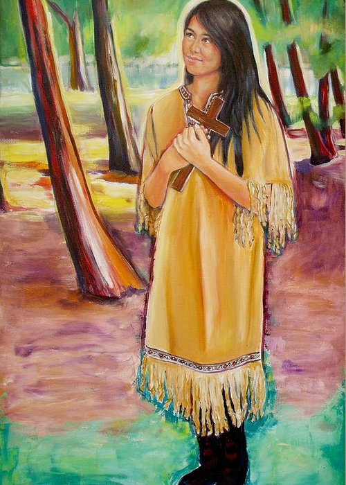 Saint Kateri Greeting Card featuring the painting Saint Kateri Tekakwitha Version One by Sheila Diemert