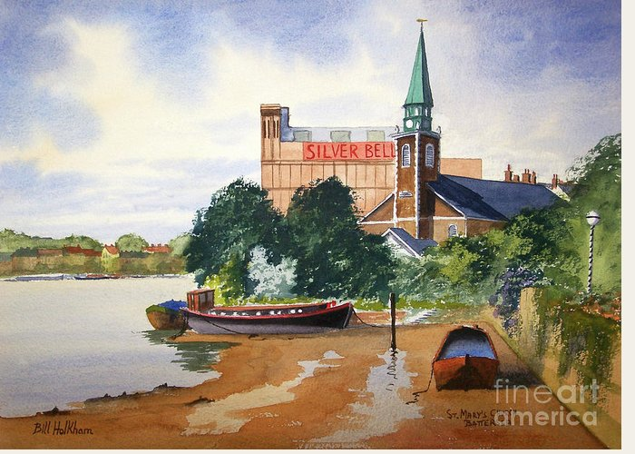St Mary's Greeting Card featuring the painting Saint Mary's Church Battersea London by Bill Holkham