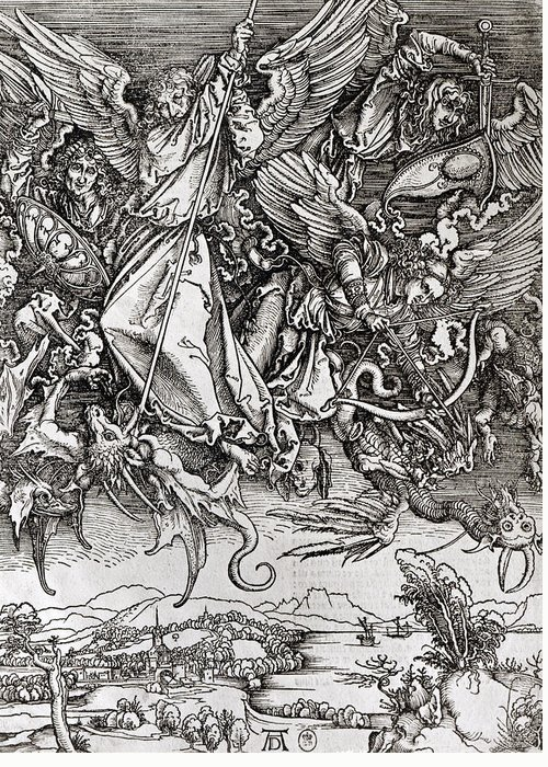Saint Michel Greeting Card featuring the drawing Saint Michael And The Dragon by Albrecht Durer or Duerer