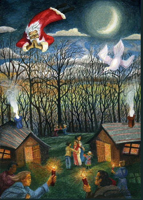 Christmas Greeting Card featuring the painting Saint Nicholas Praying For The Recovery Of His Tradition by Craig Gallaway