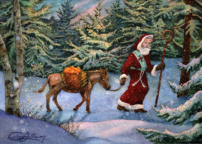 Saint Nicholas Greeting Card featuring the painting Saint Nicholas With Oranges by Craig Gallaway