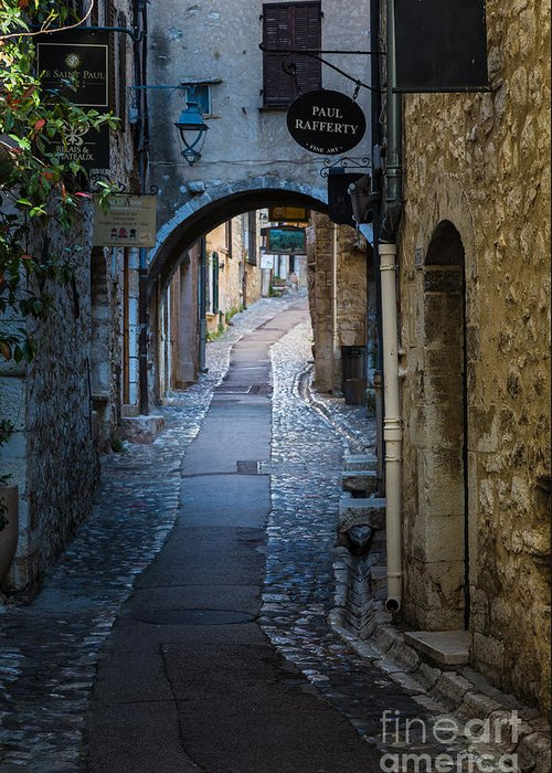 Cote D'azur Greeting Card featuring the photograph Saint Paul Rue Grande by Inge Johnsson