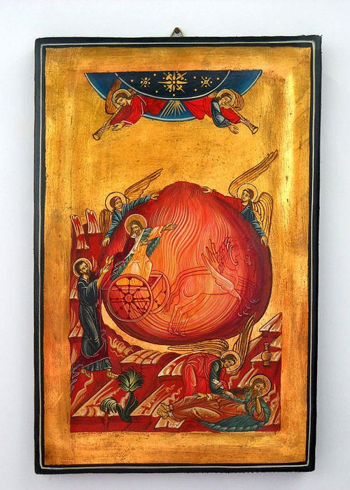 Saint Prophet Elias Greeting Card featuring the painting Saint Prophet Elias Hand Painted Russian Byzantine Icon by Denise Clemenco