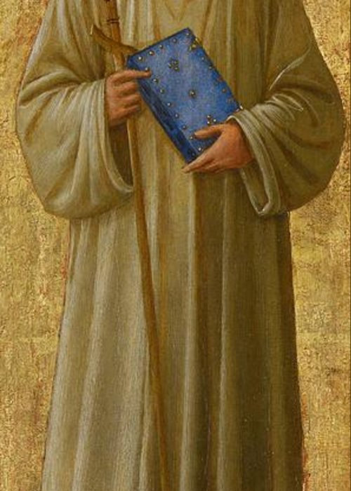 St. Romuald; Saint; Male; Full Length; Portrait; Bible; Book; Staff; Cross; Christian; Religious Greeting Card featuring the painting Saint Romuald by Fra Angelico