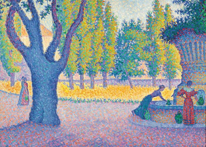 Pointillist; Divisionist; St. Tropez; Saint Tropez; Saint-tropez; Fountain; Fontaine Des Lices; Female; Street Scene; Tree; Purple; Yellow; Water; Municipal; France; French; Post Impressionist; Post-impressionist Greeting Card featuring the painting Saint-tropez Fontaine Des Lices by Paul Signac