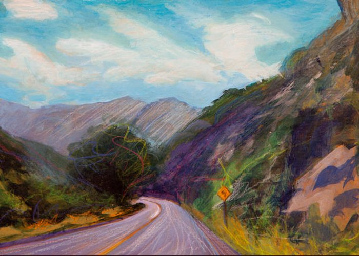 Colorado Greeting Card featuring the painting Saint Vrain Canyon by Athena Mantle Owen