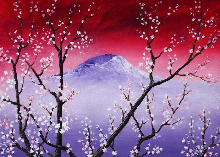 Malakhova Greeting Card featuring the painting Sakura by Anastasiya Malakhova