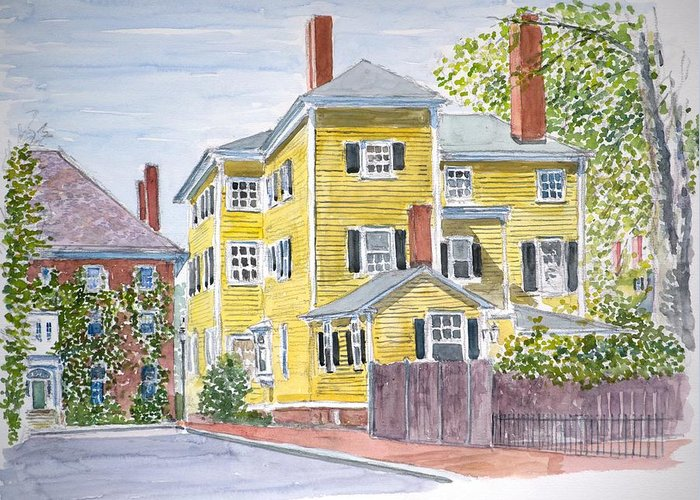 Salem Mass Greeting Card featuring the painting Salem by Anthony Butera