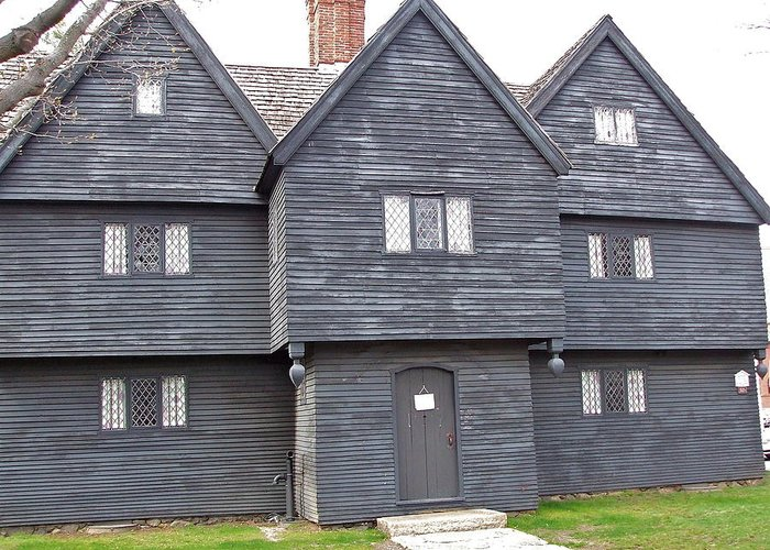 Ancient Building Greeting Card featuring the photograph Salem Witch House by Susan Wyman