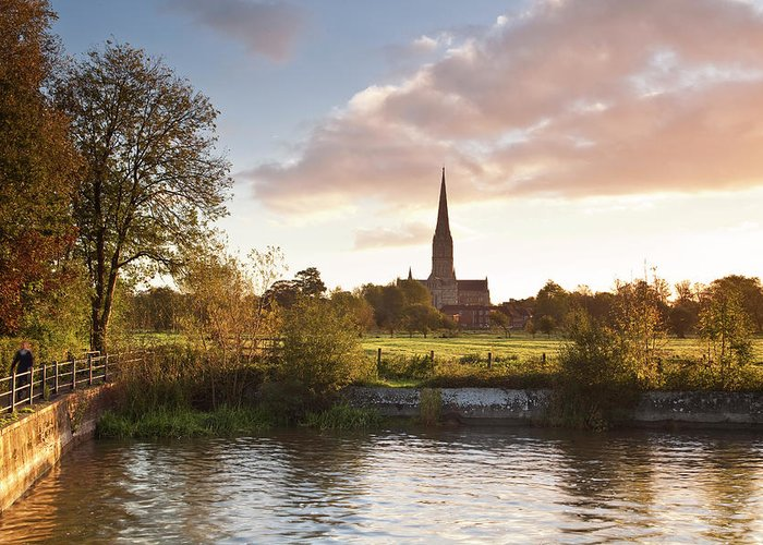 Tranquility Greeting Card featuring the photograph Salisbury Cathedral And The River Avon by Julian Elliott Photography