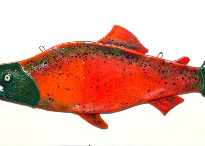 Greeting Card featuring the glass art Salmon 1 by Margaret Donat