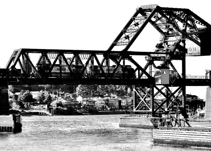 Salmon Greeting Card featuring the photograph Salmon Bay Bridge by Benjamin Yeager