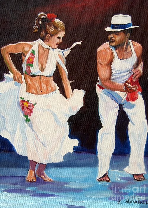 Dancing Greeting Card featuring the painting Salsa by Jose Manuel Abraham
