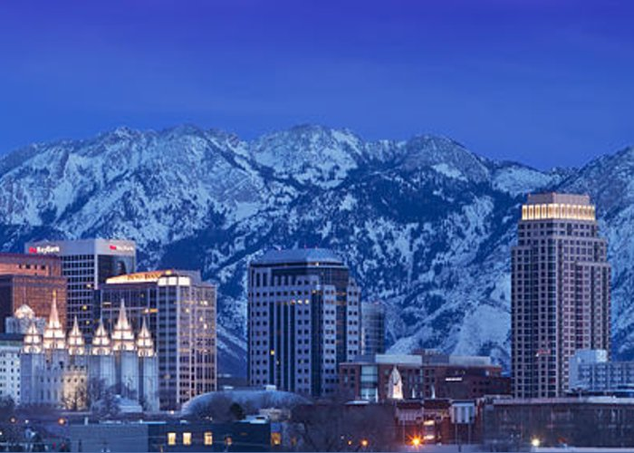 America Greeting Card featuring the photograph Salt Lake City Skyline by Brian Jannsen