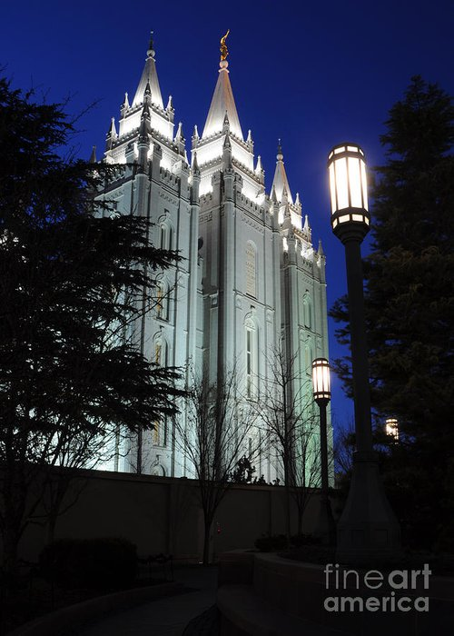 Mormon Greeting Card featuring the photograph Salt Lake Mormon Temple At Night by Gary Whitton