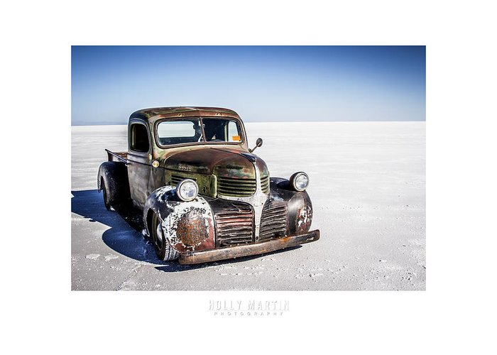Antique Automobile Greeting Card featuring the photograph Salt Metal Pick Up Truck by Holly Martin