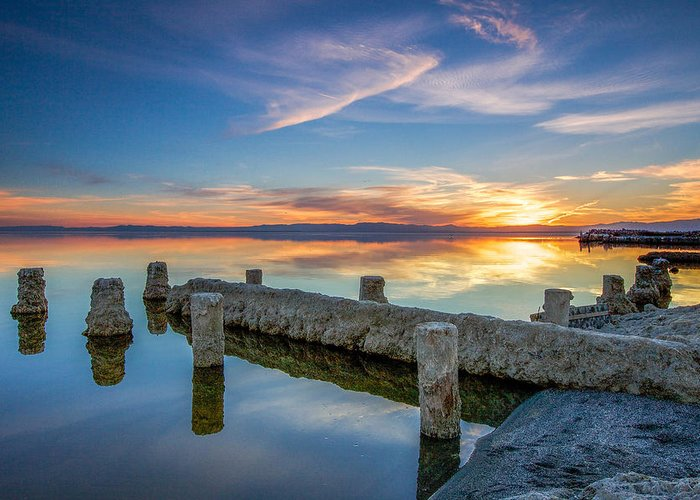 Sunset Greeting Card featuring the photograph Salton Sea Mirror by Robert Aycock