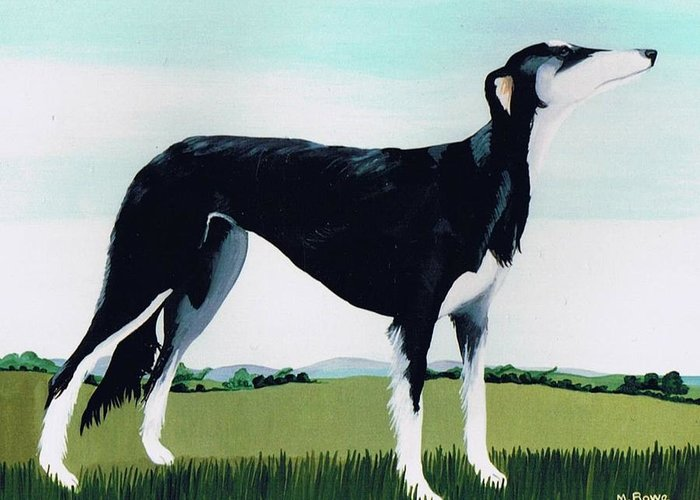 Saluki Cross Greeting Card featuring the painting Saluki Cross by Maggie Rowe