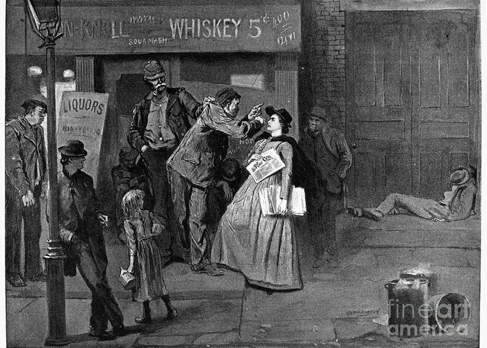 1894 Greeting Card featuring the photograph Salvation Army In Slums by Granger