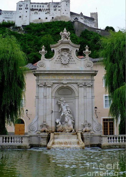 Salzburg Greeting Card featuring the photograph Salzburg Castle With Fountain by Carol Groenen