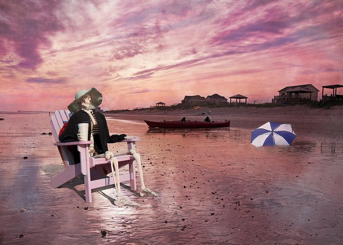 Topsail Greeting Card featuring the digital art Sam Takes A Break From Kayaking by Betsy Knapp