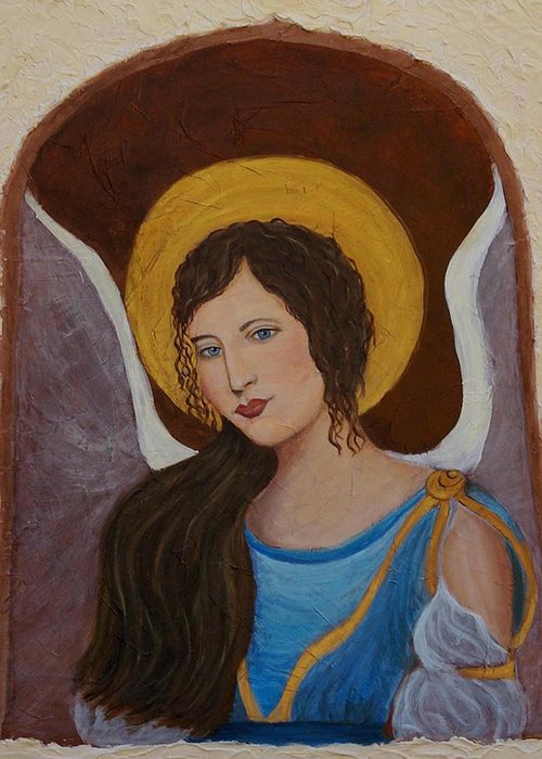 Angel Greeting Card featuring the painting Samantha An Earthangel by The Art With A Heart By Charlotte Phillips