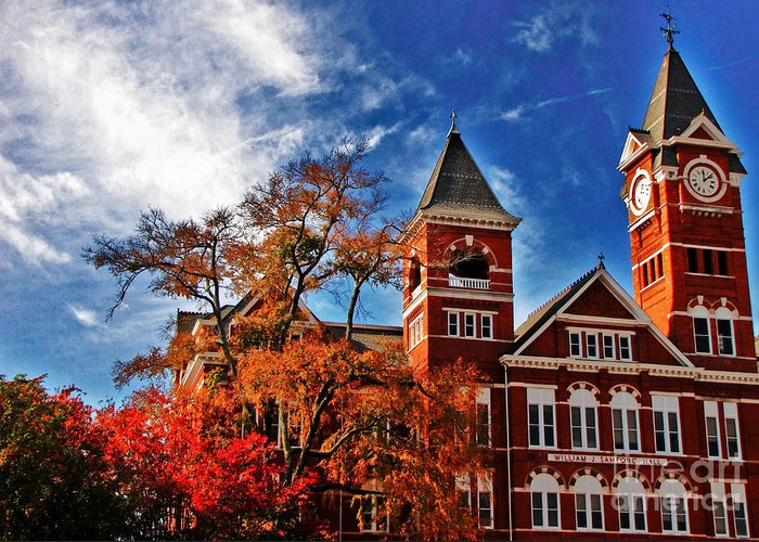 Auburn Greeting Card featuring the photograph Samford Hall In The Fall by Victoria Lawrence