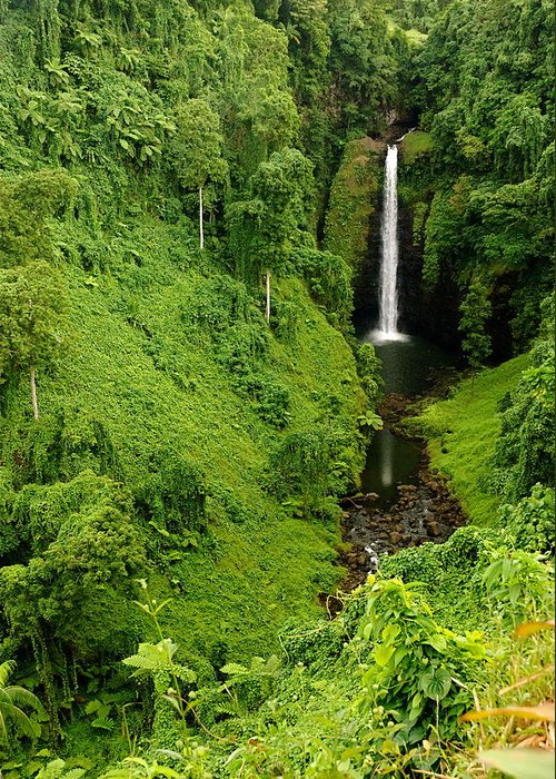 Waterfall Greeting Card featuring the photograph Samoan Waterfall by Marc Levine