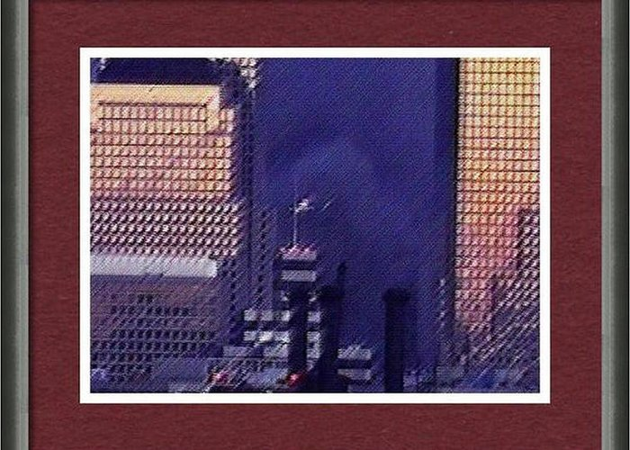 9/11 Greeting Card featuring the digital art Sample Example Sunset On Ground Zero by James Kosior