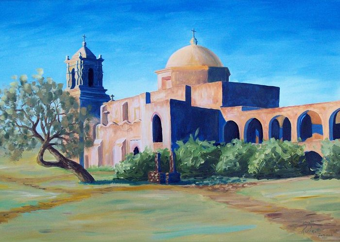 Landscape Greeting Card featuring the painting San Antonio Mission by Scott Alcorn