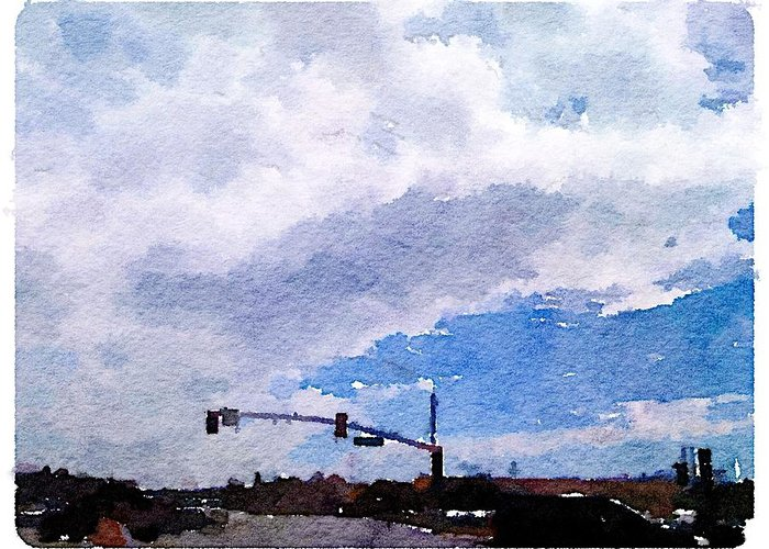 Waterlogue Greeting Card featuring the digital art San Benito Sky by Shannon Grissom