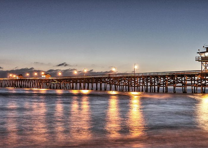 Pier At Night Greeting Card featuring the photograph San Clemente Pier At Night by Richard Cheski